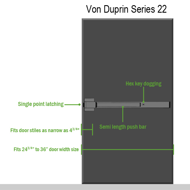 Von Duprin 22 Series Exit Bar on Door