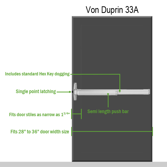 Von Duprin 33A Exit Device on door
